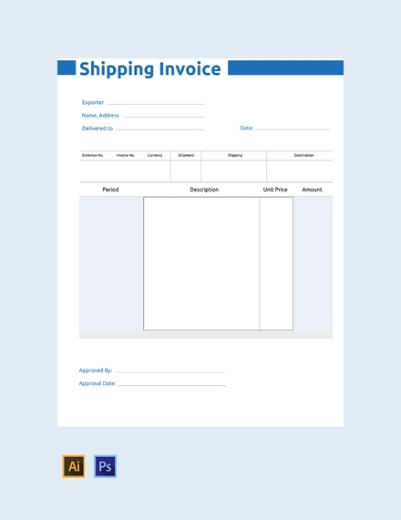 commercial shipping invoice