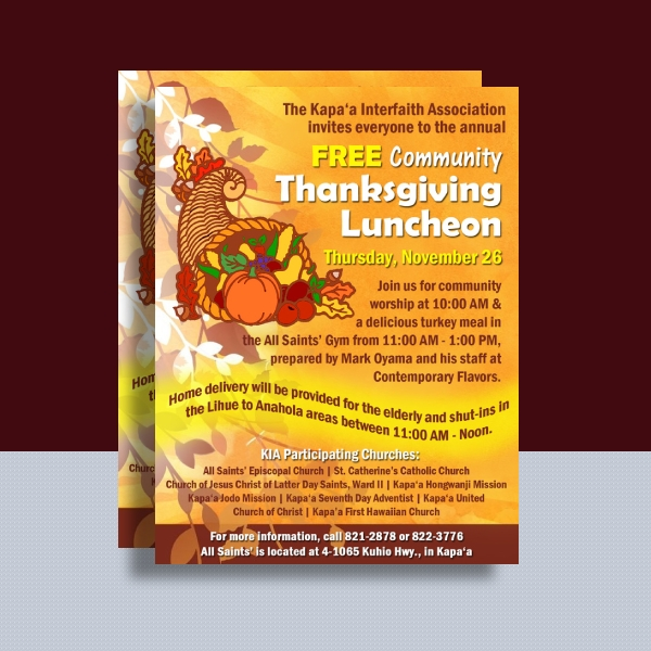 community thanksgiving luncheon poster