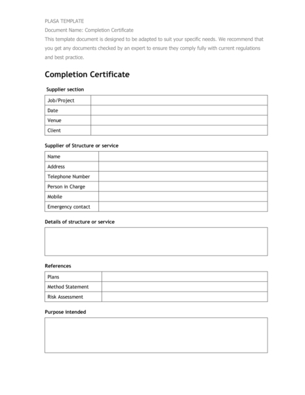 completion certificate example