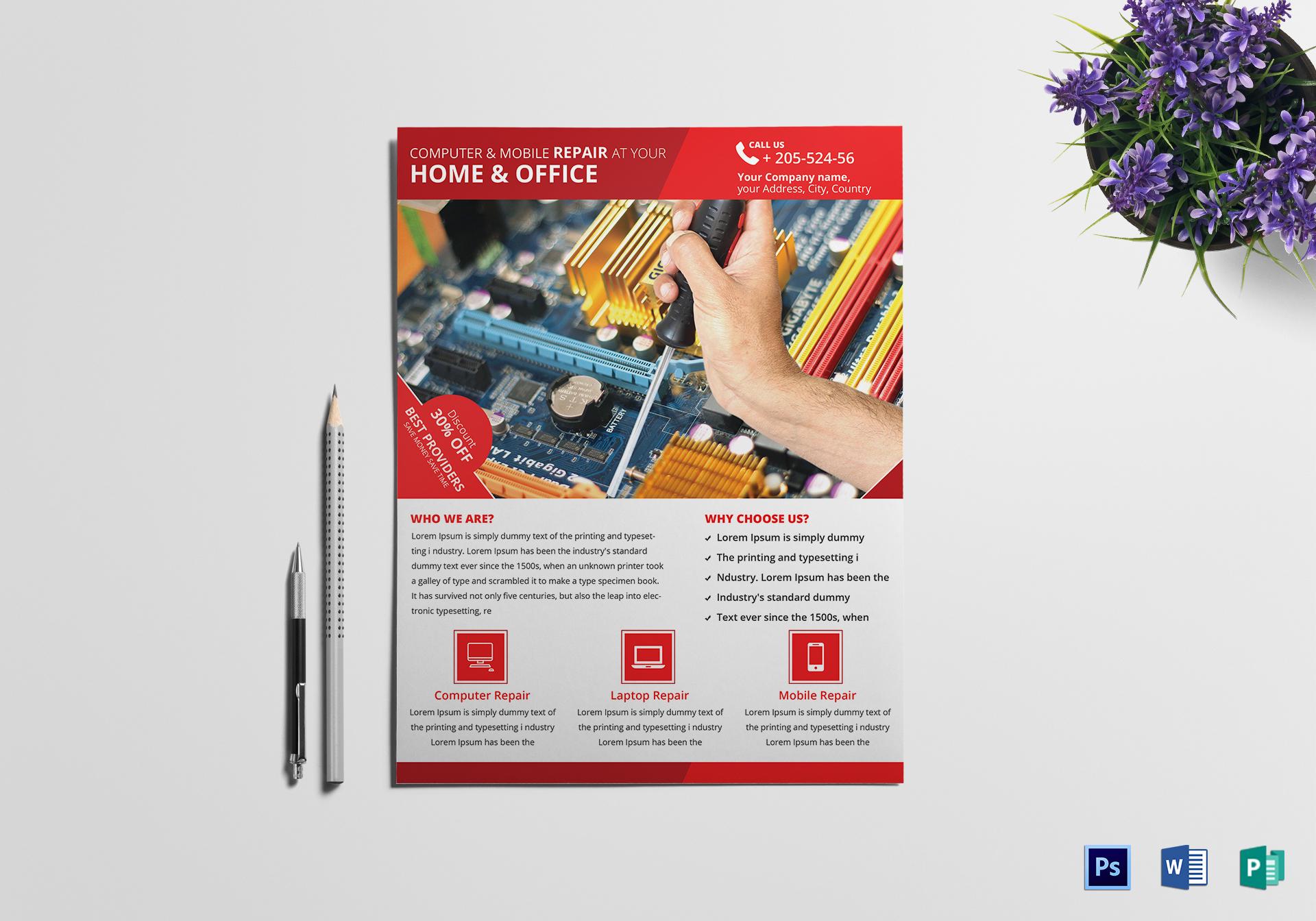 computer mobile repair flyer template