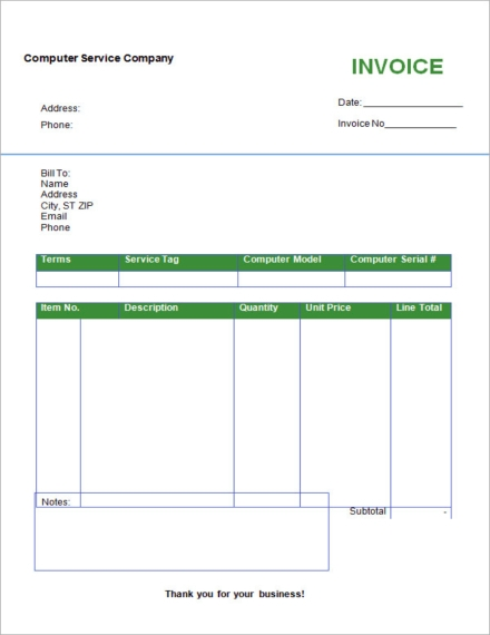 Computer Service Company Invoice