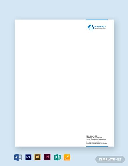 construction letterhead template