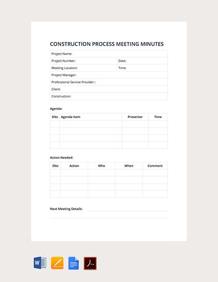 construction process meeting minutes design