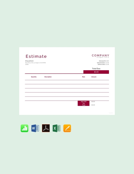 cost estimate sheet template