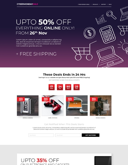 cyber monday html5 or css3 landing page