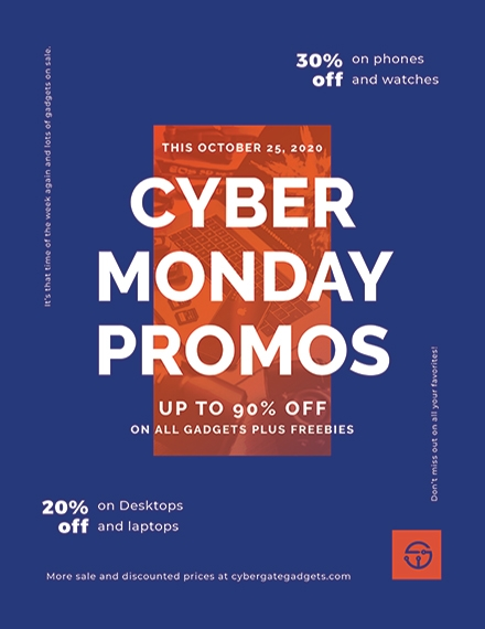 cyber monday promotional flyer
