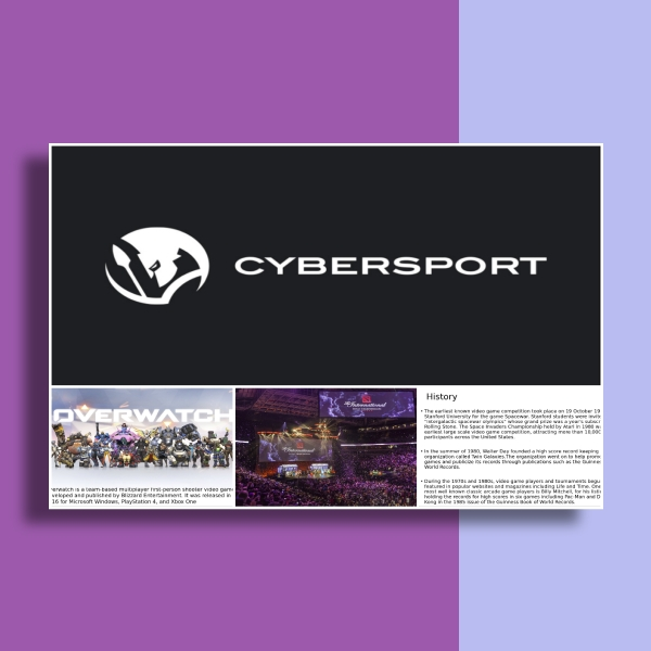cybersports powerpoint presentation