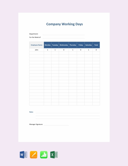 daily company attendance sign in sheet