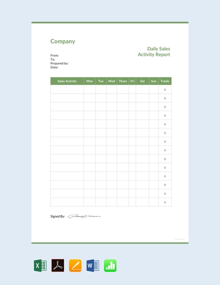 daily sales activity report design