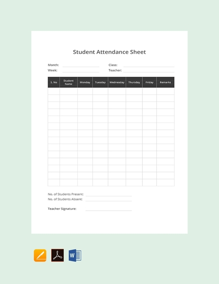 daily student attendance sign in sheet