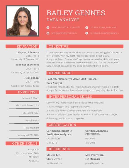 data entry resume