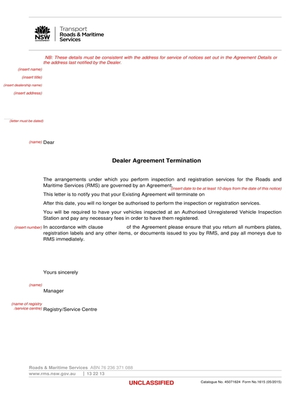 dealer agreement termination letter example