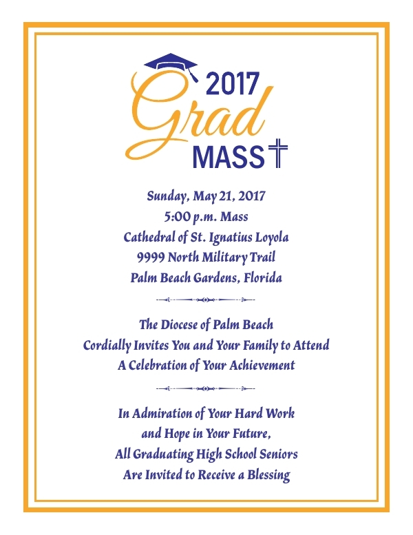 diocese of palm beach graduation mass invitation