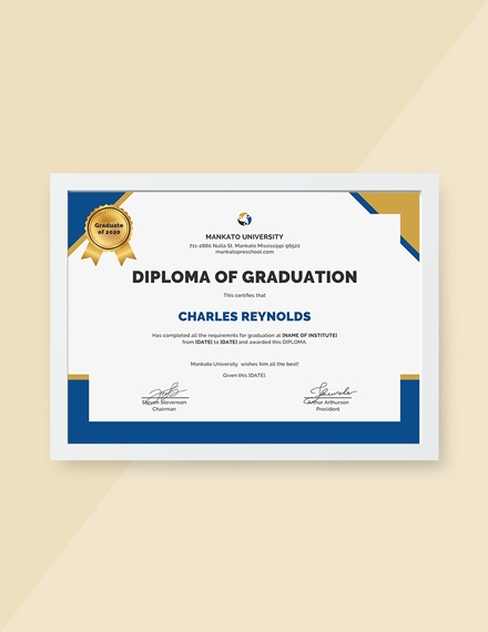 diploma of graduation certificate