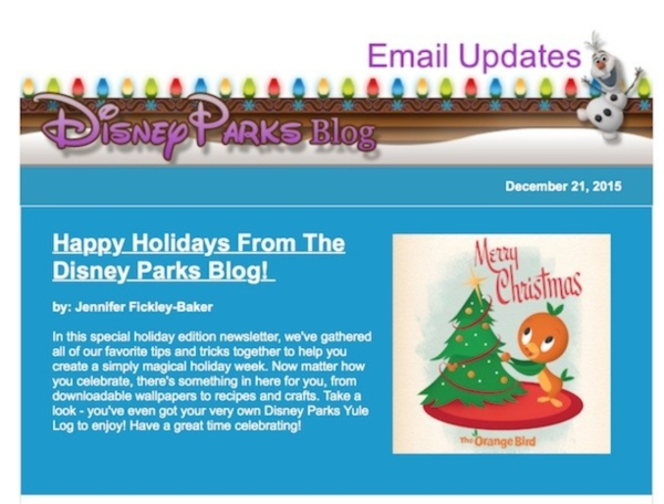 disney parks christmas newsletter