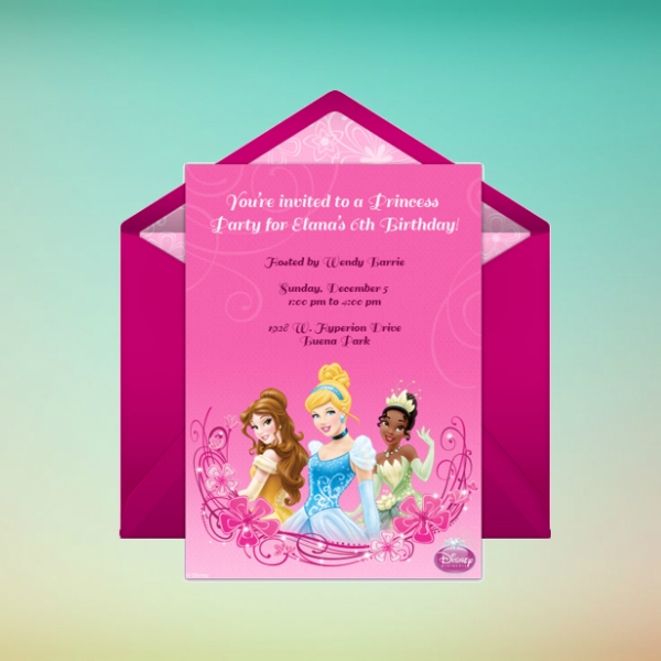 disney princess party online birthday invitation