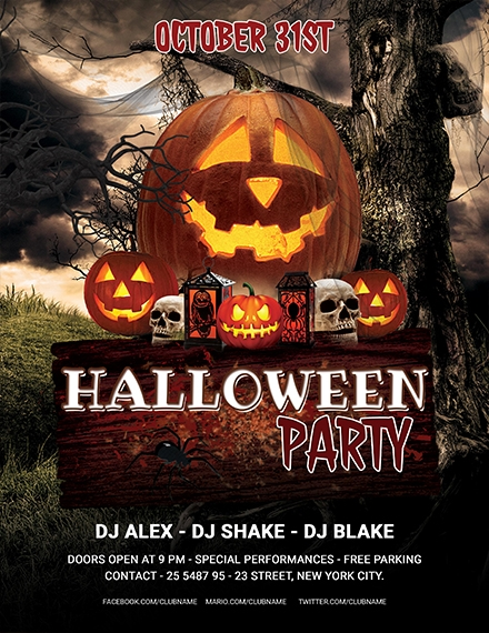 Editable Halloween Party Flyer
