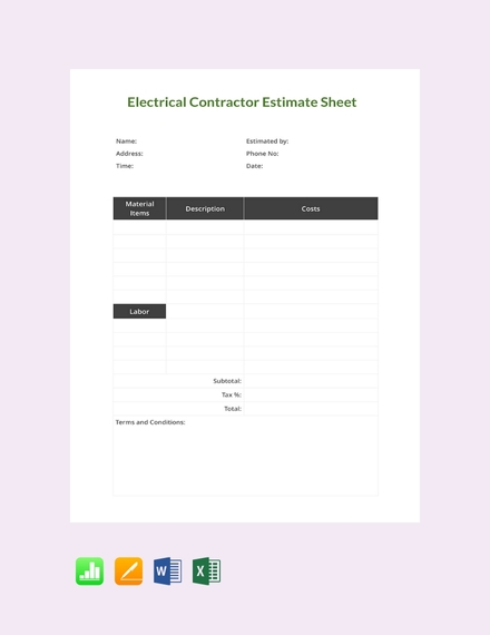 electrical contractor estimate sheet template