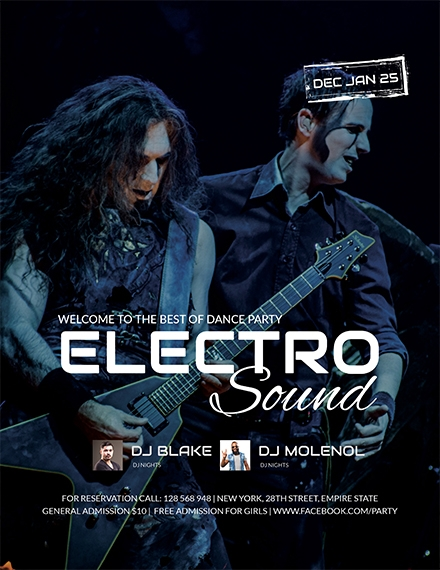 electro concert party flyer