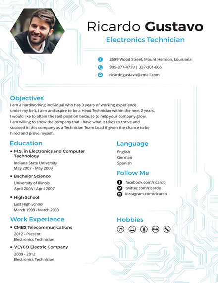 electronic technician creative resume