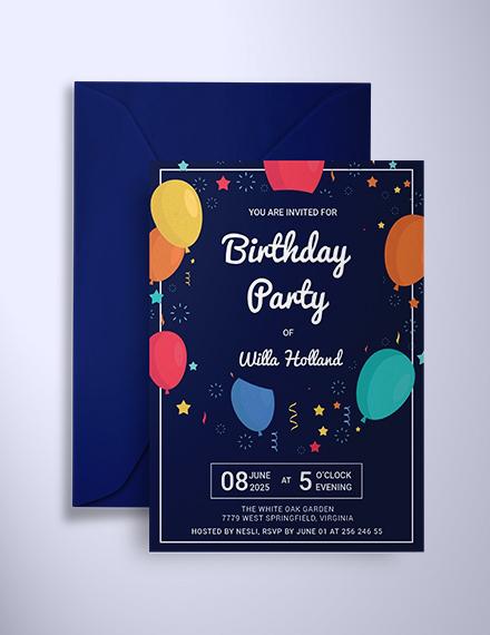elegant birthday party invitation