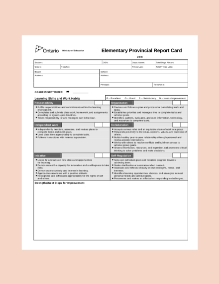 elementary provincial report card