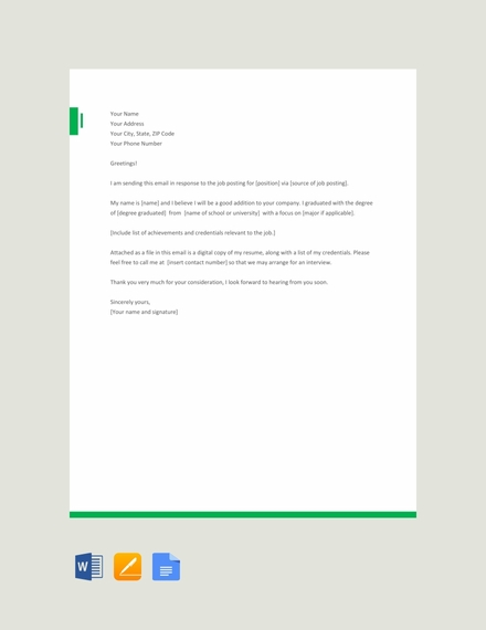 email application letter template