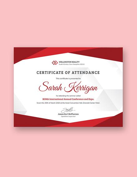 employee attendance certificate