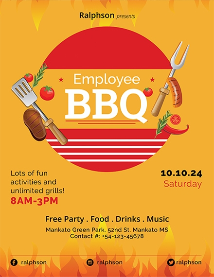 employee bbq party flyer