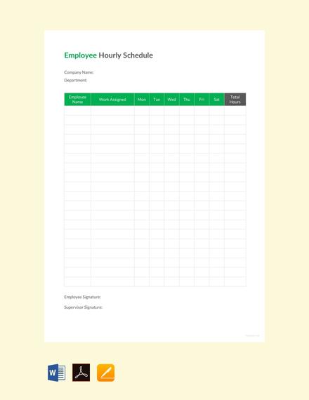 employee hourly schedule template