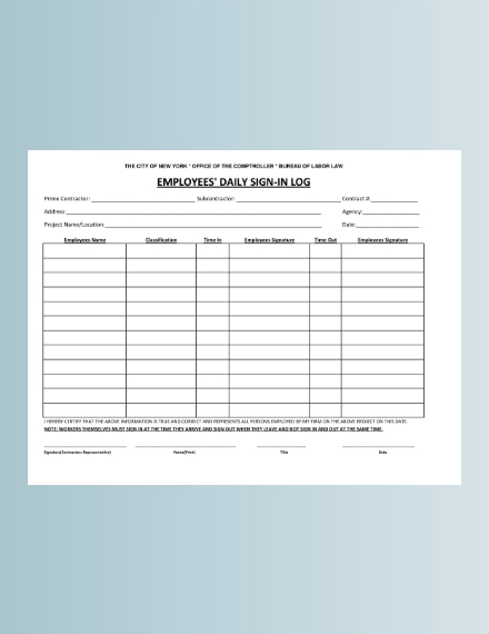 employees daily sign in sheet example