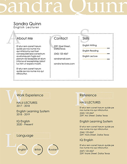 english lecturer creative resume