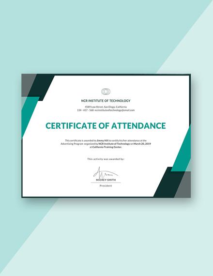 event attendance certificate