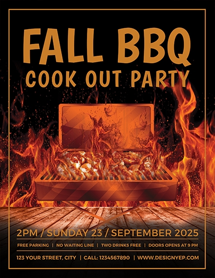fall bbq party flyer