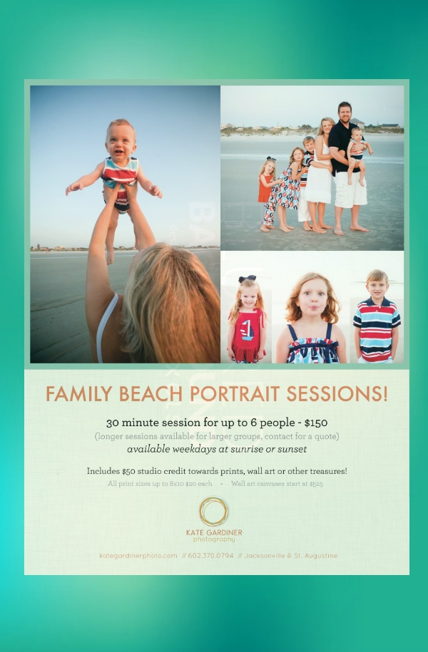 family beach portrait sessions photography flyer