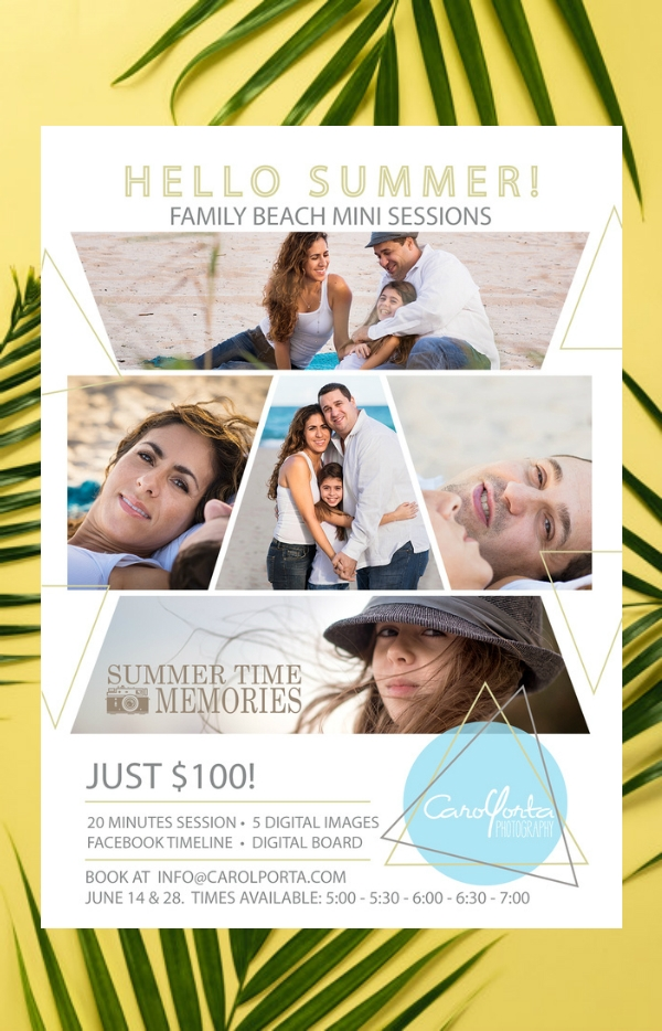 family beach session photography flyer