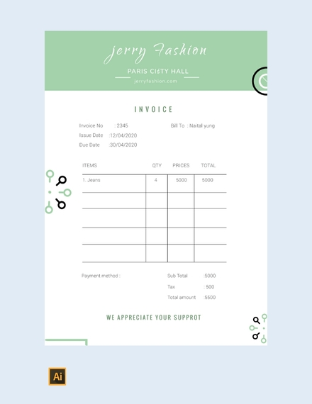 fashion store invoice template