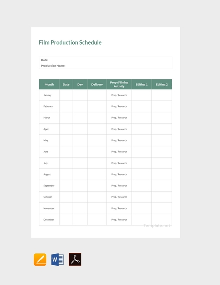 film production schedule
