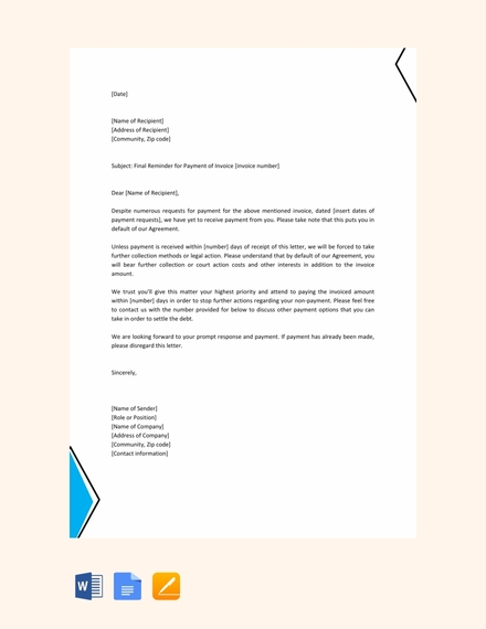 14 Reminder Letter Examples Templates In Word Pages Docs
