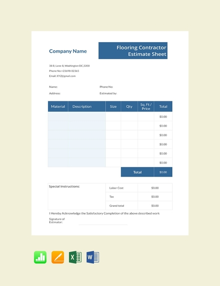 flooring contractor estimate sheet template