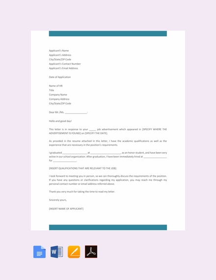 formal job application letter template