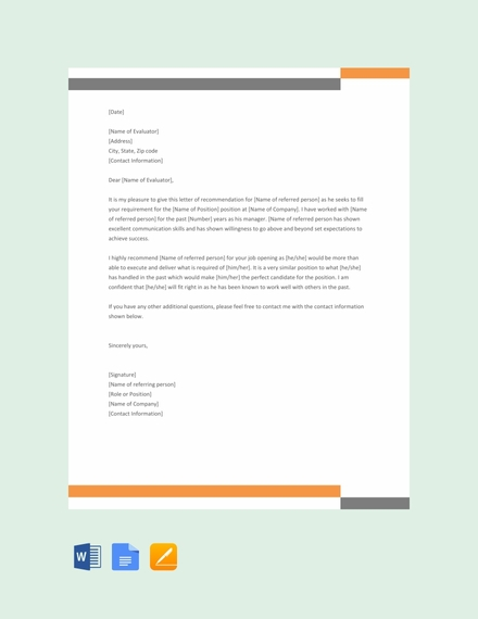 formal reference letter template