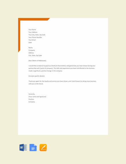 formal thank you letter template