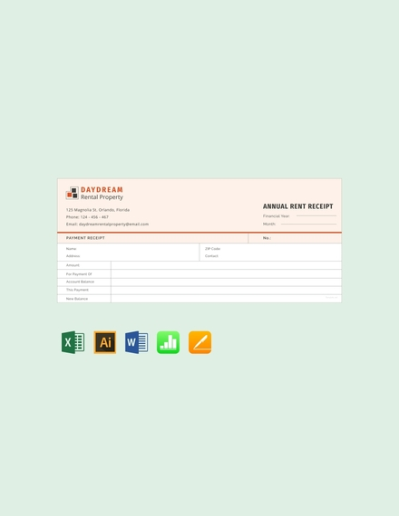 free annual rent receipt template