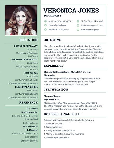 free basic pharmacist resume design