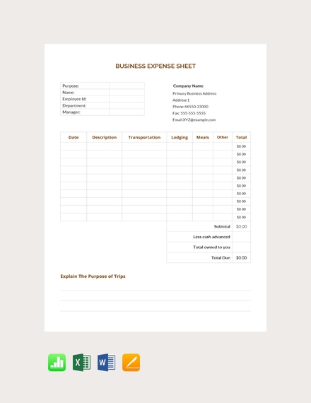 free business expense sheet template