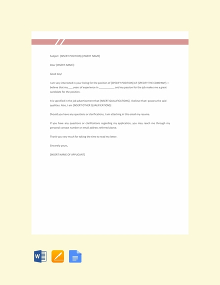 free email job application letter template