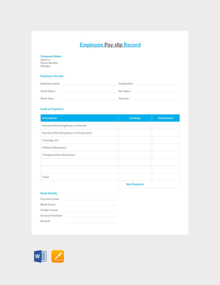 Free Employee Pay Slip Template