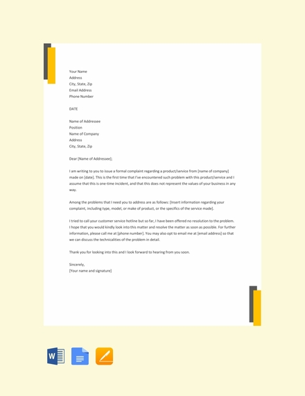 34+ Complaint Letter Examples & Samples - PDF, DOC | Examples
