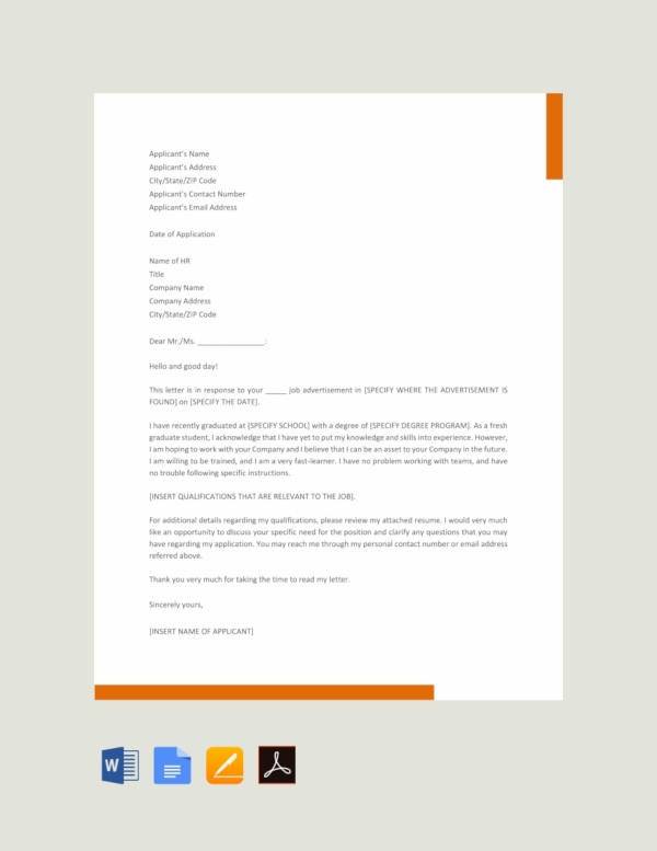 free graduate job application letter template